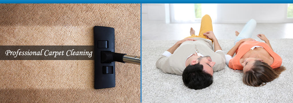 cleaning a carpet and a happy couple lying down on a carpet